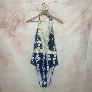 Rosegal Blue & White Floral One Piece Swimsuit 3X